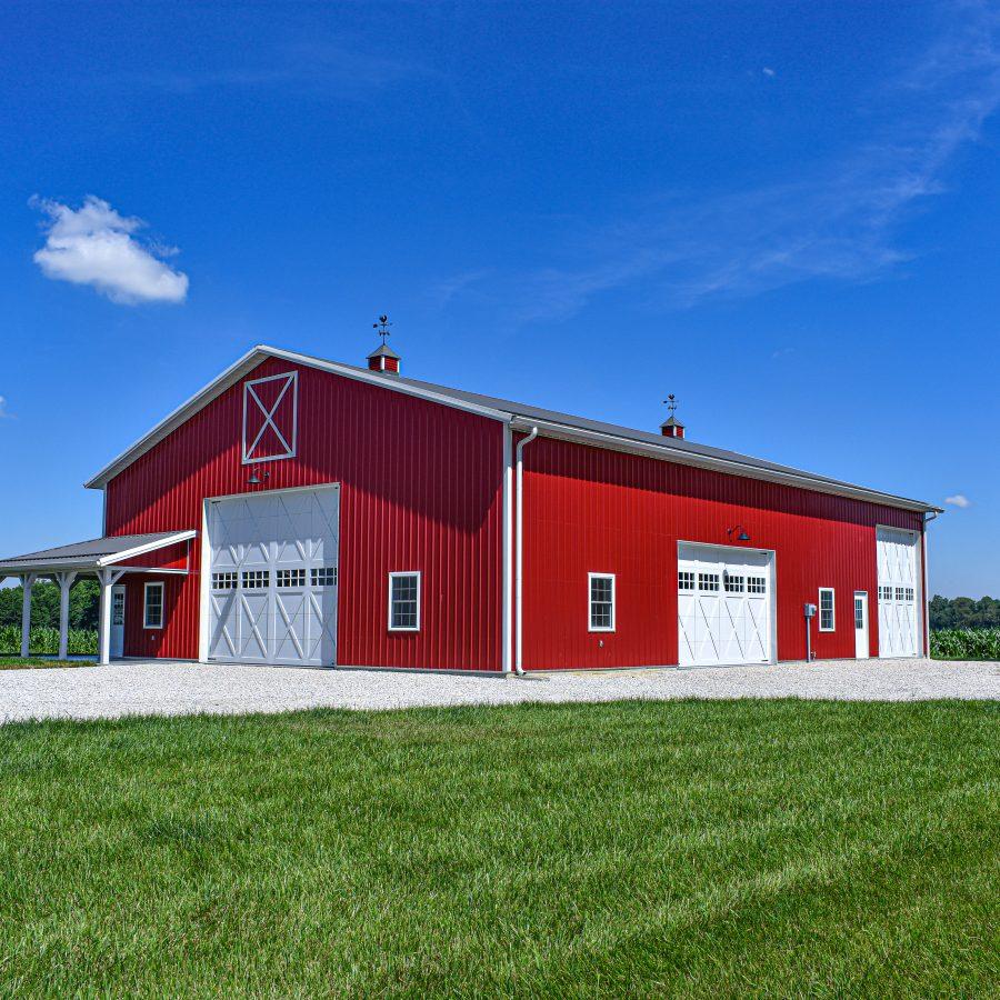 pole barn with overhead doors