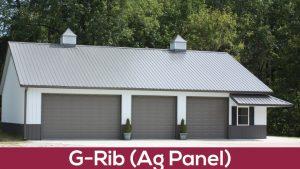 g-rib ag panel metal roof on garage