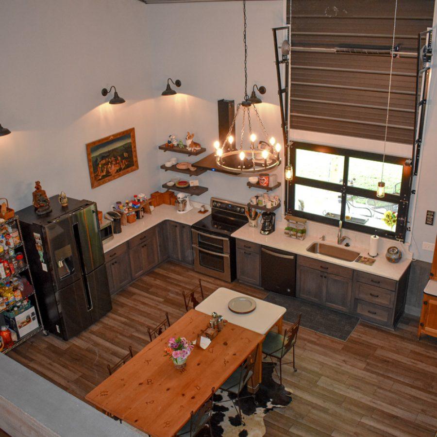 large kitchen on bottom floor