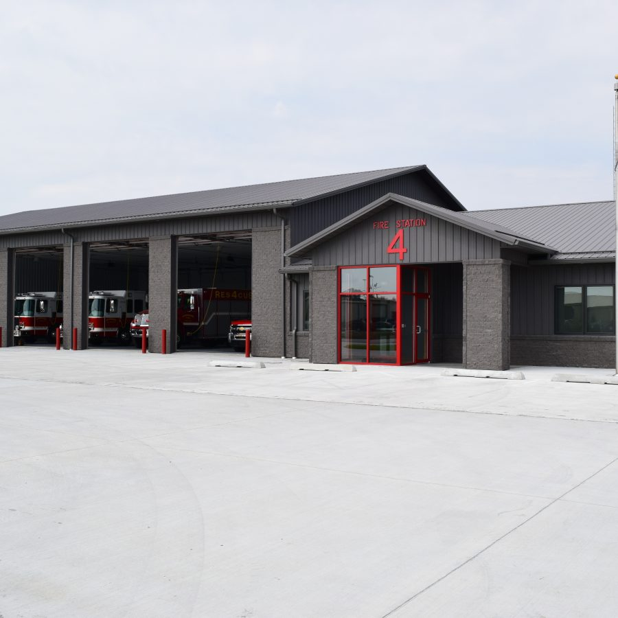 post frame fire station with five garage spaces