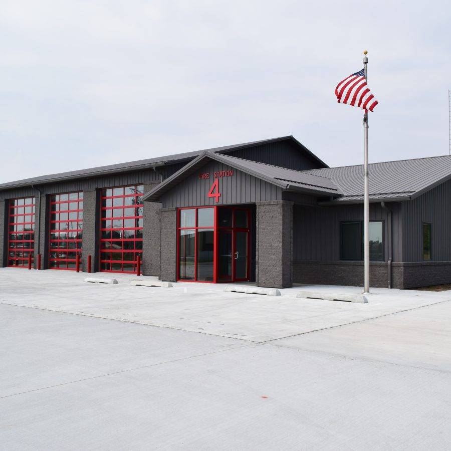 fire station with new metal roof