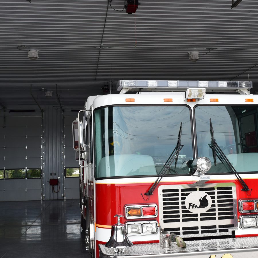 large garage space for fire truck
