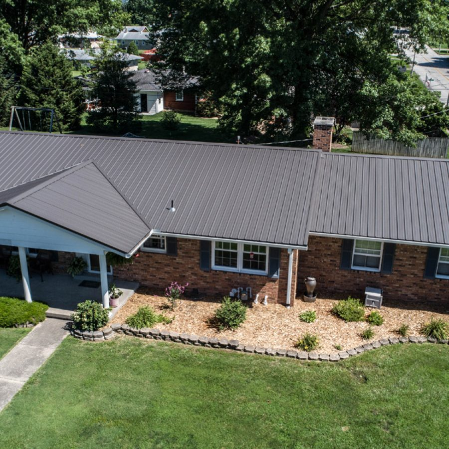 standing seam metal roof on new residential home