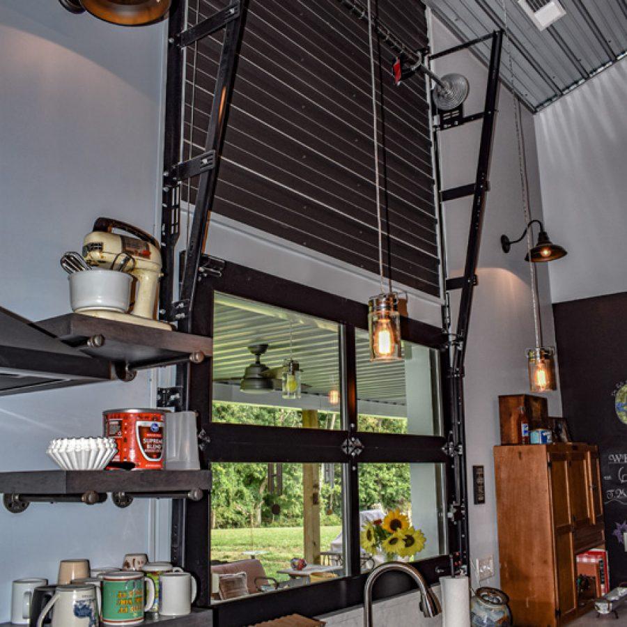 metal overhead kitchen door