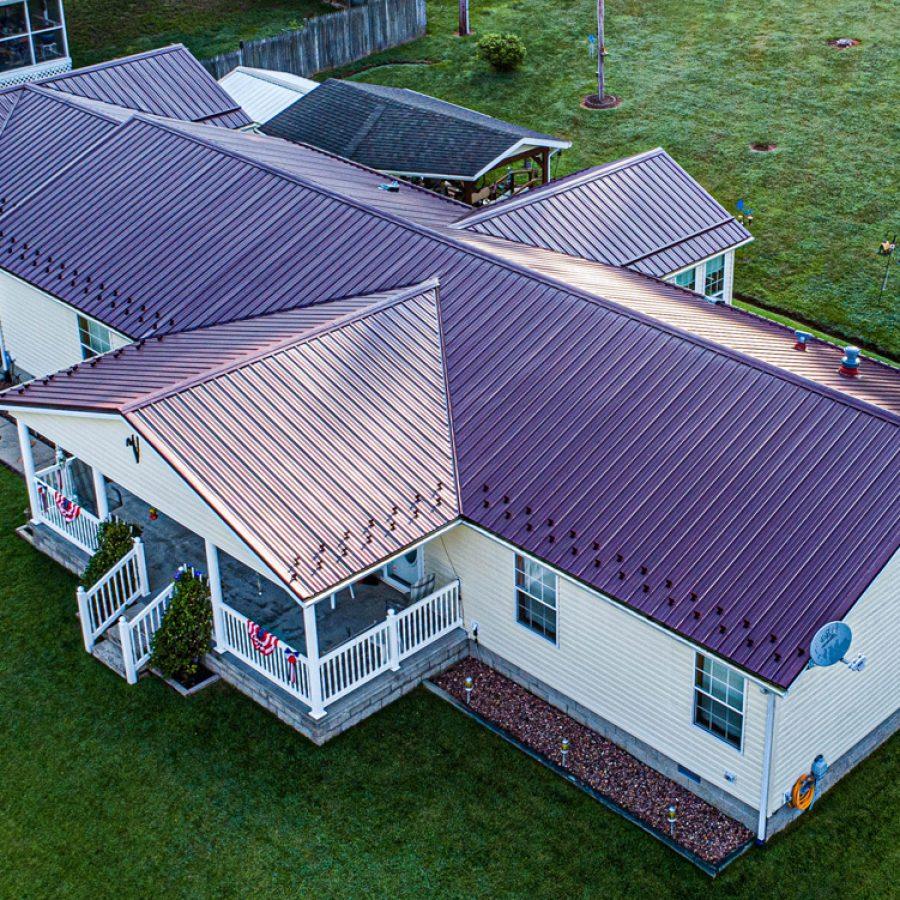 burgundy standing seam metal roof