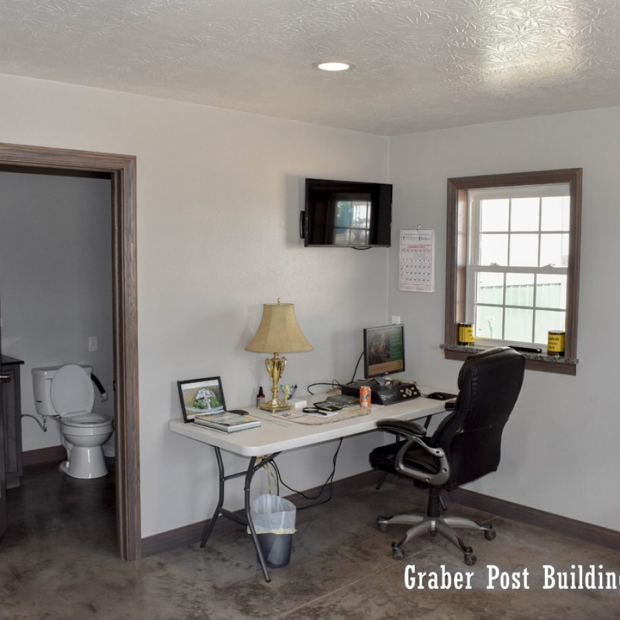 home office and bathroom
