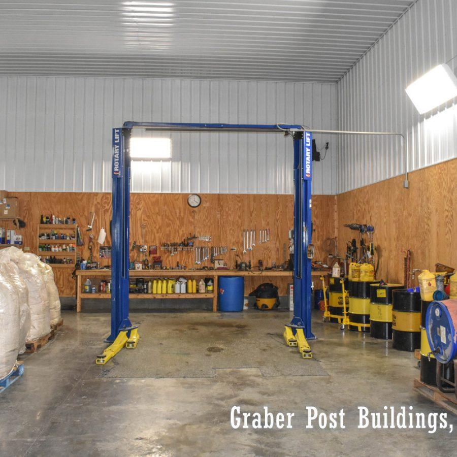 pole barn workshop with metal siding