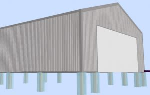3d design of pole building with metal siding