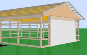 3d design of pole barn during construction
